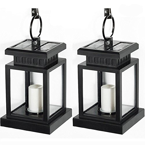 [Pack of 2] LVJING Vintage Waterproof Solar Hanging Umbrella Lantern Led Candle Lights with Clamp for Beach Umbrella Tree Pavilion Garden Yard Lawn Outdoor Camping Hiking Fishing (Black) (Night Garden Umbrella)