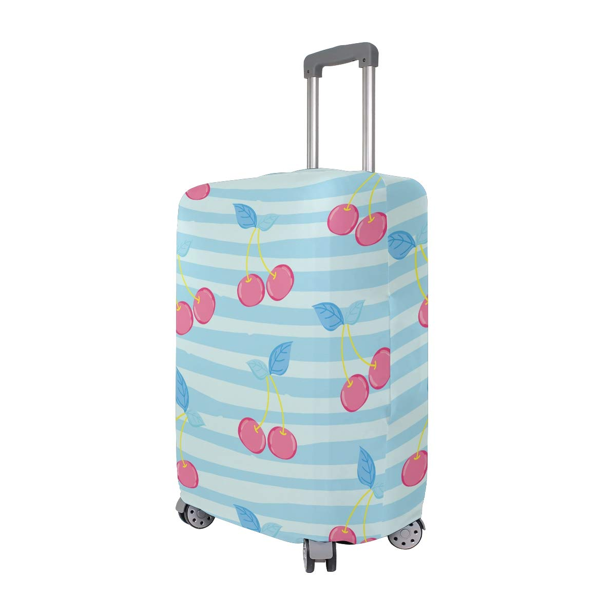Baggage Covers Watercolor Red Cherries Pastel Blue Stripes Washable Protective Case