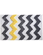 "iDesign Chevron Bath Rug, Machine Washable Microfiber Accent Rug for Bathroom, Kitchen, Bedroom, Office, Kid's Room, 34"" x 21"", Gray and Yellow"