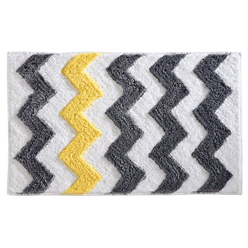 InterDesign Chevron Bath, Machine Washable Microfiber Accent Rug for Bathroom, Kitchen, Bedroom, Office, Kid's Room, 34