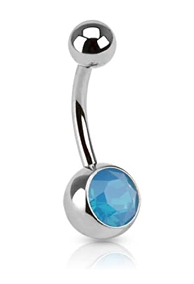 Amazon Com Vibrant Blue Opalescent Stone Navel Ring Fancy Belly