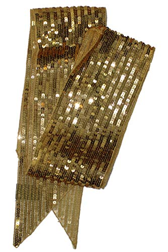 Ted and Jack - Luxe Bedazzled Sequin and Sparkle Scarf (Gold Skinny Tie)]()