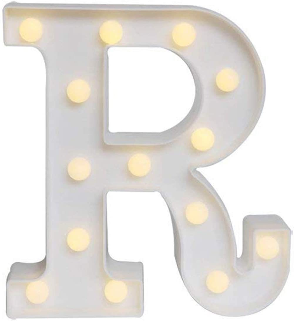 Ogrmar Decorative Led Light Up Number Letters, White Plastic Marquee Number Lights Sign Party Wedding Decor Battery Operated (R)