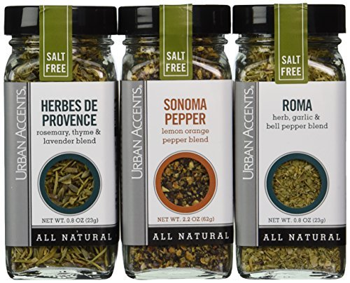 Urban Accents Salt Free Seasoning All Natural Gluten Free - Roma, Sonoma Pepper, Herbes de Provence by Urban Accents