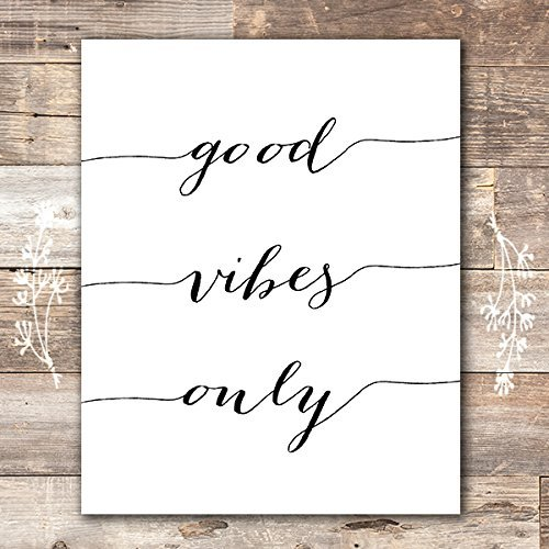8x10 Framed Black And White - Good Vibes Only Calligraphy Art Print - Unframed - 8x10