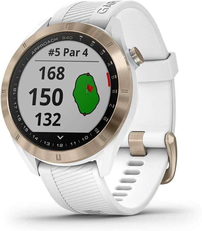 Garmin Approach S40, Stylish GPS Golf Smartwatch, Lightweight with Touchscreen Display, White/Light Gold