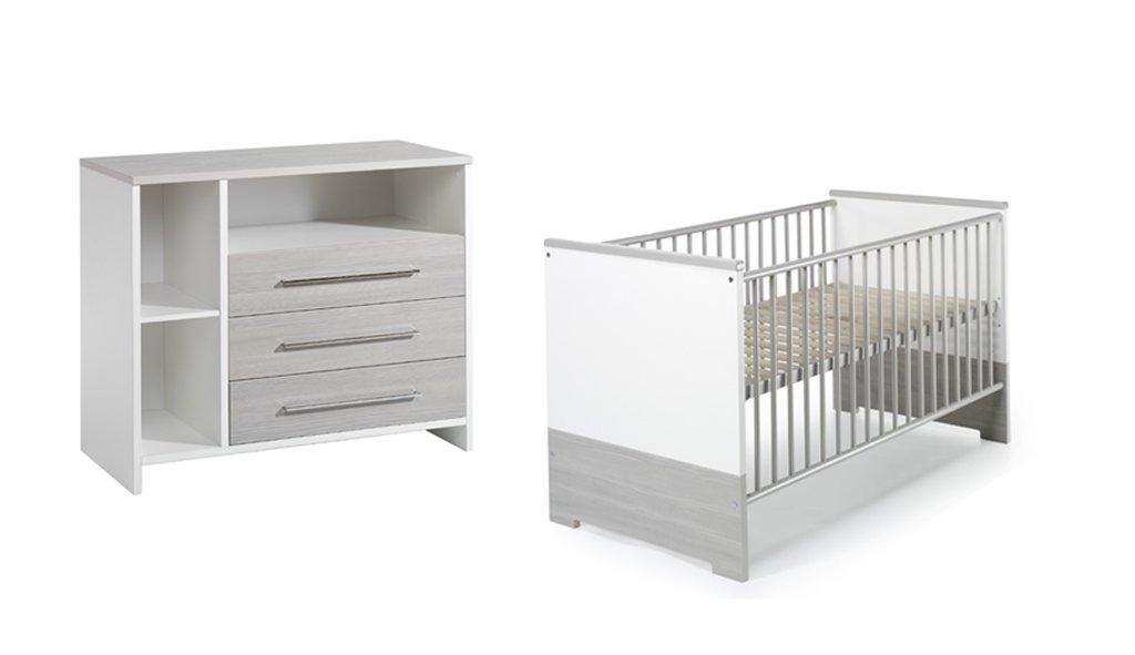 Schardt Sparset Eco Silber bestehend aus Kombi-Kinderbett 70x140 cm (inklusive Umbauseiten) und Wickelkommode mit Wickelaufsatz