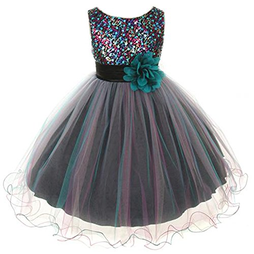 Little Girls Sparkly Multi Sequin Triple Layered Tulle Skirt Floral Brooch Flower Girl Dress Teal - Size 4 by CrunchyCucumber