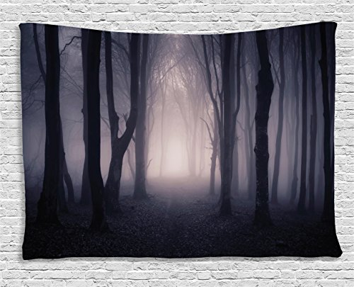 Farm House Decor Tapestry by Ambesonne, Path Through Dark Deep in Forest with Fog Halloween Creepy Twisted Branches Picture, Wall Hanging for Bedroom Living Room Dorm, 60 W X 40 (Halloween Party Do List)