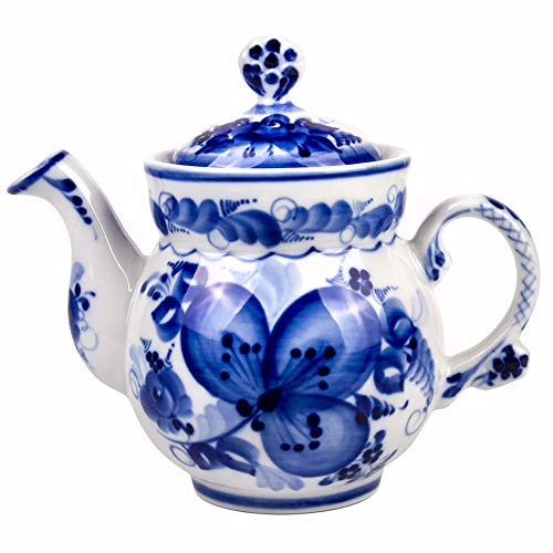 - Gzhel Hand-painted Clover Teapot Blue and White Porcelain. 21 fl oz (620 ml)