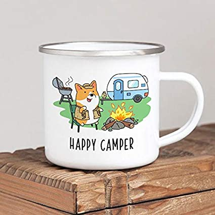 DKISEE Happy Camper Camp Mug, Dog Corgi Enamel Camping Mug ...