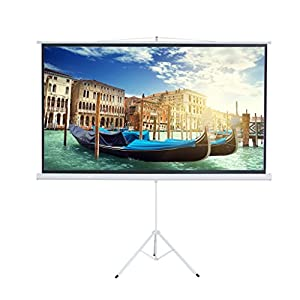 Cloud Mountain Tripod Projector Screen 100 Inch 16:9 HD Multi Adjustable Aspect Ratio Portable Pull Down Screen with Stand,Matte White