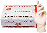 GREAT GLOVE NMSTV70015-L-BX Stretch Vinyl Food Service Grade Multi-Purpose Gloves, 4 mil, Powder-Free, Smooth, Latex-Free, DINP & DEHP Free, Synthetic, General Purpose