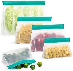 Xinzi Reusable Kids Fruits Lunch Kitchen Fresh Bag Sealing Bag Freezer Bag Leakproof Containers Snacks Food Storage(M)