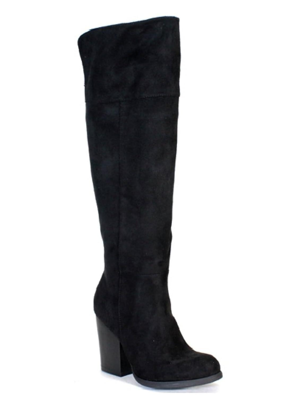 black suede slouchy chunky heel knee