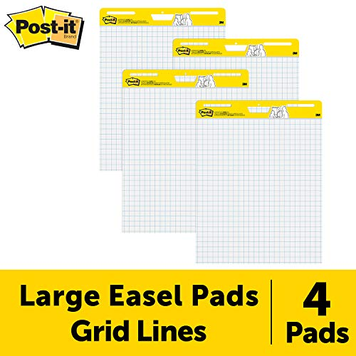 Post-it Easel Pad, 25 in x 30 in, 4 pads per pack, Blue Grid (560 VAD 4PK) ()