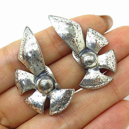 VTG Monet 925 Sterling Silver Abstract Floral Design Clip On Earrings