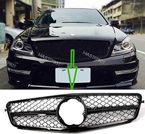 Usudu Glossy Black C-Class C200 - C350 Gloss Black Grille 2008-2014 C63 AMG For Mercedes Benz W204