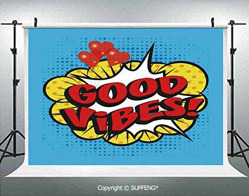 - Photography Background Pop Art Composition with Speech Bubble Retro Letters Heart Balloons Decorative 3D Backdrops for Photography Backdrop Photo Background Studio Prop