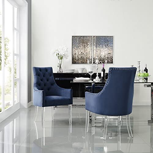 Velvet Acrylic Leg Dining Chair Set of 2, Navy