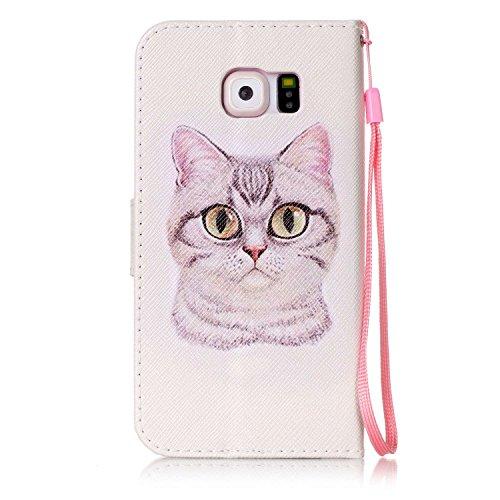 Para Smartphone Samsung Galaxy S6Funda Flip Cover Funda Piel [Tarjetero] funda piel cartera Executive Diseño + Polvo Conector beige 7 6