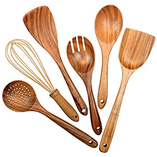 Wooden Utensils for Kitchen,6 Pack Wooden Spoons for Cooking Natural Teak Wood Spatula Draining Spoon Whisk and Salad Fork,Cooking Utensils Set