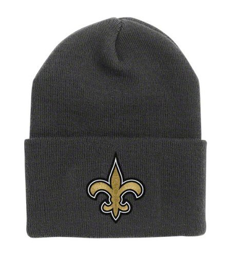 Cap Embroidered Reebok (New Orleans Saints Black Cuff Beanie Hat - NFL Cuffed Winter Knit Toque Cap)