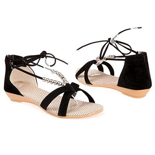 Lace Women's TAOFFEN Black Up Sandal Shoes Z5RnxAqwC