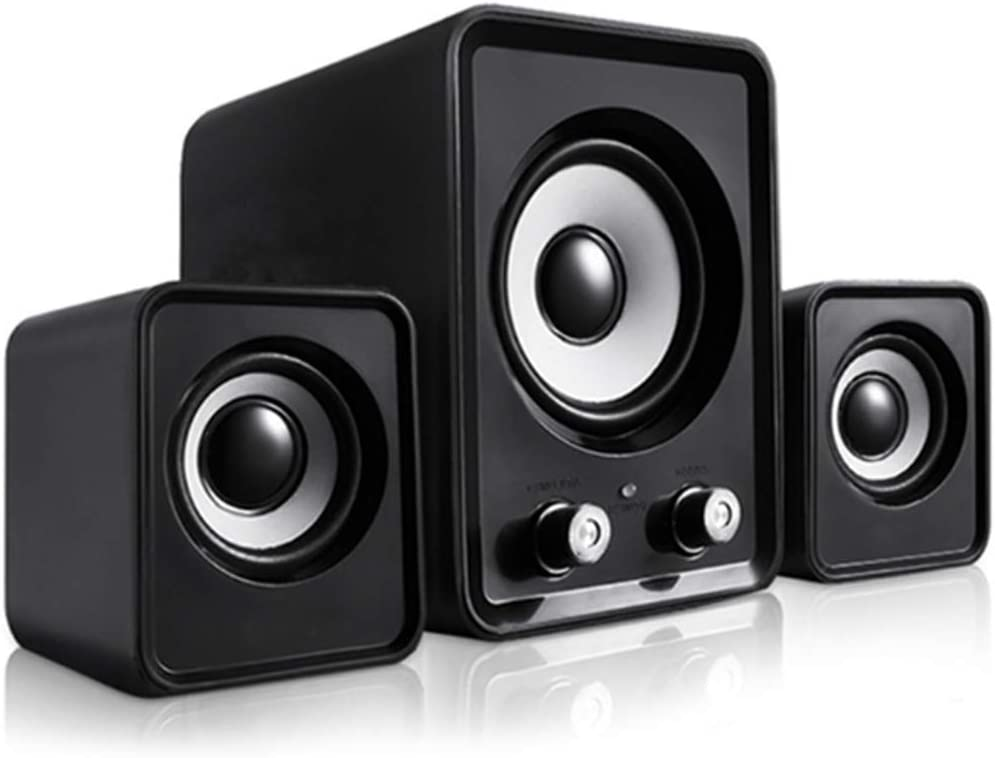 Computer Speakers with Subwoofer, 2.1 Speaker System, Loud bass, PC Speakers. Speakers for Desktop Computer. Black