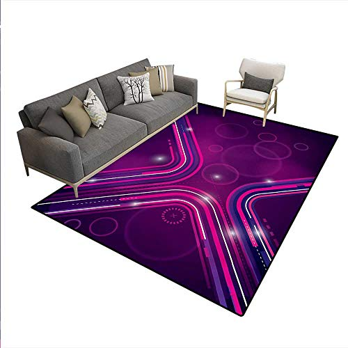 Carpet,Abstract Purple Parallel Lines in a Violet Environment with Transparent Circles,Customize Rug Pad,Violet Pink,6'x8'