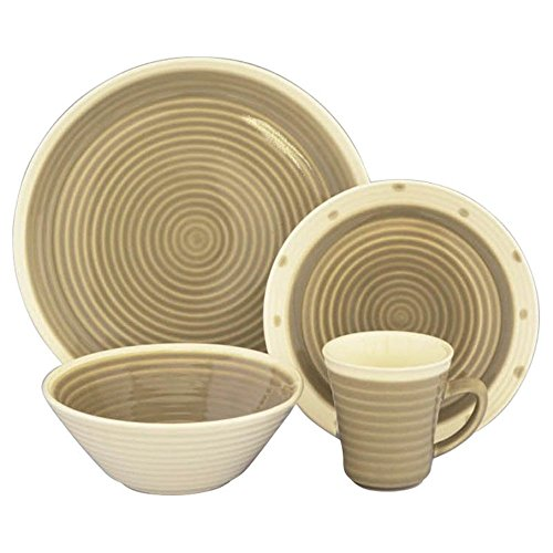 Rico 16 Piece Dinnerware Set, Taupe