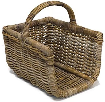 Grey Tri-Pendawa Medium Rectangular Wicker Weave Log Basket