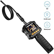 HOMIEE Endoscope Inspection Camera with LCD Monitor Screen, 3.2ft IP67 Waterproof Hand Held Digital Snake Car Bore Scope Camera, 8 Brightness LED Lights & 8mm Diameter, Portable Toolbox Included