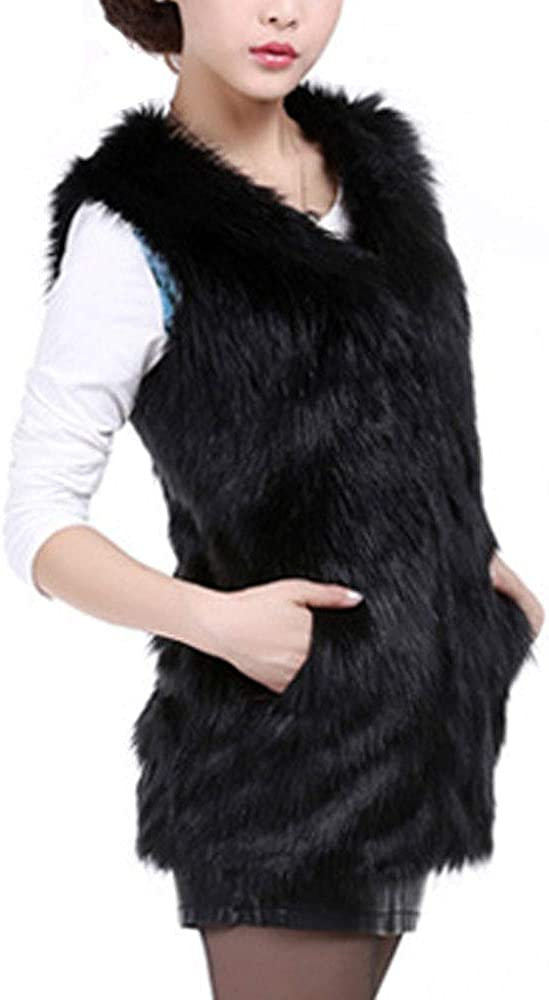 HIENAJ Womens Fashion Long Faux Fur Vest Winter Warm Sleeveless Waistcoat with Pocket