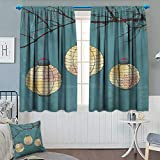 Anhounine Lantern,Blackout Curtain,Three Paper Lanterns Hanging on Branches Lighting Fixture Source Lamp Boho,Window Curtain Fabric,Teal Pale Yellow,W72 x L84 inch