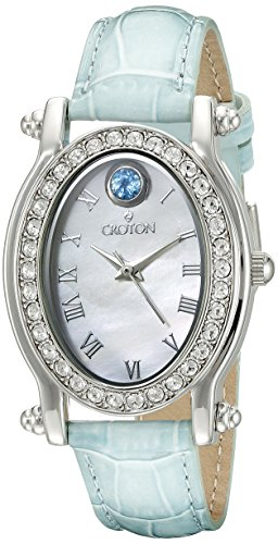 CROTON Women's CN207537TOMP Balliamo December Birthstone Analog Display Quartz Blue Watch Croton Womens Quartz Stone