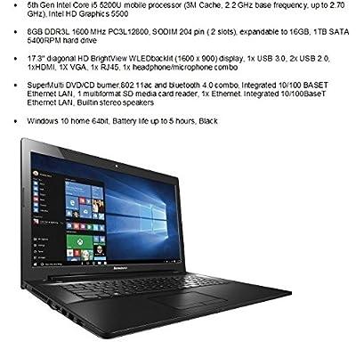 "2016 Newest Lenovo G70 17.3"" Flagship High Performance Laptop PC, Intel Core i5-5200U Processor, 8GB RAM, 1TB HDD, DVD+/-RW, Webcam, Bluetooth, WiFi, HDMI, Windows 10, Black"