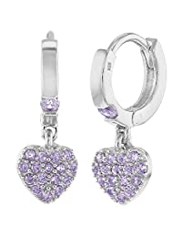 925 Sterling Silver Girls Small Hoop CZ Heart Dangle Earrings - Fit's kids from Toddler to Young Girls