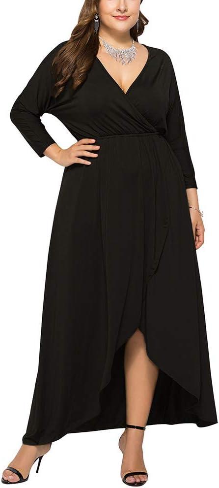 Kanggest.Vestido Largo para Mujer Obeso Talla Grande Moda Bolsillo ...