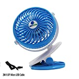 Glovion Battery Operated Clip Fan,Mini fan Usb Personal Cooling Fan with 2600mAh Battery and 6.5 ft Micro USB Charging Cable - Blue