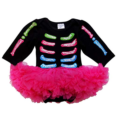 So Sydney Baby Infant Halloween Pirate Skull Skeleton Tutu Chiffon Skirt Bodysuit Romper (XL (18-24 Months), Hot Pink Skeleton)
