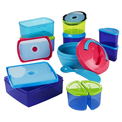 Fit & Fresh Kids' Value Reusable Container Set, 25-Piece Portion Control Lunch Container Set with Removable Ice Packs, Sandwich Box, and Hot Lunch Bowl, BPA-Free