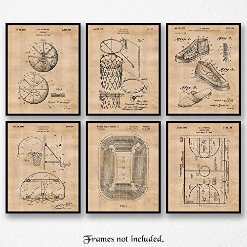 Original Basketball Patent Art Poster Prints- Set of 6 (Six 8x10) Unframed Photos- Great Wall Art Decor Gifts Under $20 for Home, Office, Garage, Man Cave, Student, Teacher, Player, Coach, Fan