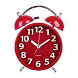 Bell Alarm Clock Twin Bell Silent Vintage Bedside Desk with Nightlight and Loud Student Alarm Clock 4 INch Red