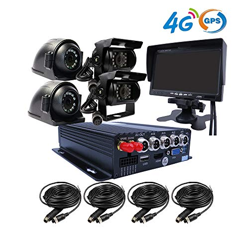 JOINLGO H.264 4CH GPS 4G 1080P AHD 2 SD Mobile Vehicle Car DVR MDVR Audio and Video Recorder Kit Realtime View on Phone and PC 7 inches VGA Monitor 4 Side Front Rear View Car Cameras for Truck Bus RV