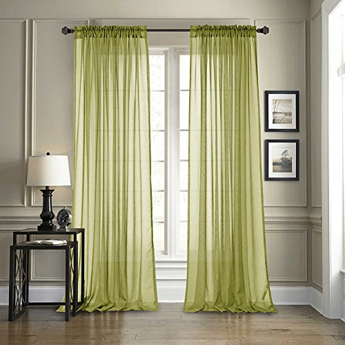 Dreaming Casa Solid Sheer Curtains Draperie Light Green Rod Pocket Two Panels 52