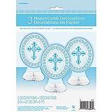 "8"" Mini Blue Radiant Cross Religious Centerpiece Decorations, 3ct"