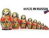 Russian Nesting Doll - Kirov - VJATKA - Hand Painted in Russia - Big Size - Wooden Decoration Gift Doll - Matryoshka Babushka (Style C, 8.25``(10 Dolls in 1))
