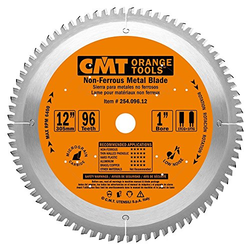 CMT 254.096.12 ITK Industrial Non-Ferrous Metal and Melamine Blade and  12-Inch Diameter by 96 Teeth with 1-Inch Bore, PTFE-Coated