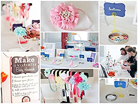 Amazon.com : Baby Shower Headband Station DIY Kit By JLIKA   Make 32  Headbands And 5 Clips   DIY Hair Bow Kit   Birthday Party Collection :  Beauty